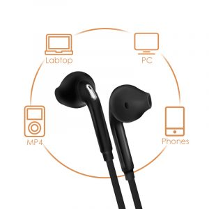 Stereo Earbuds with Microphone – White & Black
